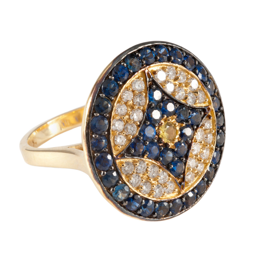 VK Logo Ring with Yellow Gold with Diamonds and Blue Sapphires