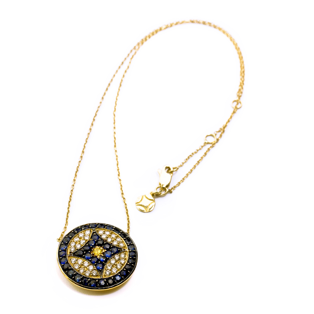 VK Logo Necklace in Yellow Gold with Diamonds and Blue Sapphires